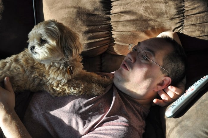 puppy making Daddy feel better