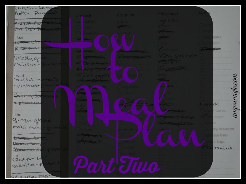 How to Meal Plan – Part Two – Healthy Tuesday #HealthyTuesday