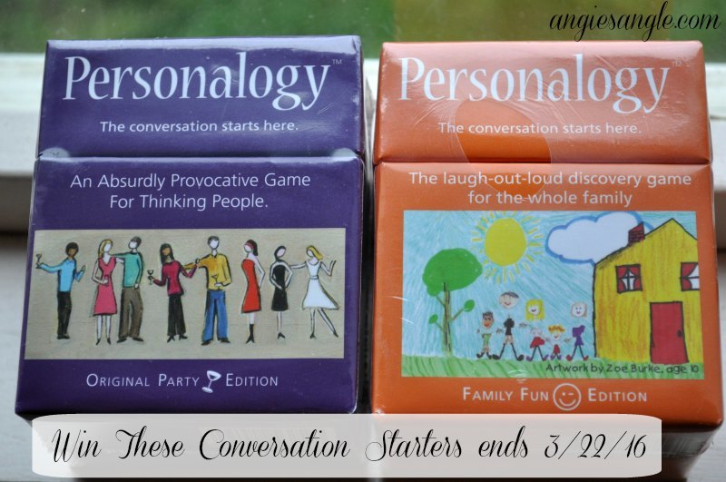 Conversation Starters – Personalogy Review and Giveaway ends 3/22/16