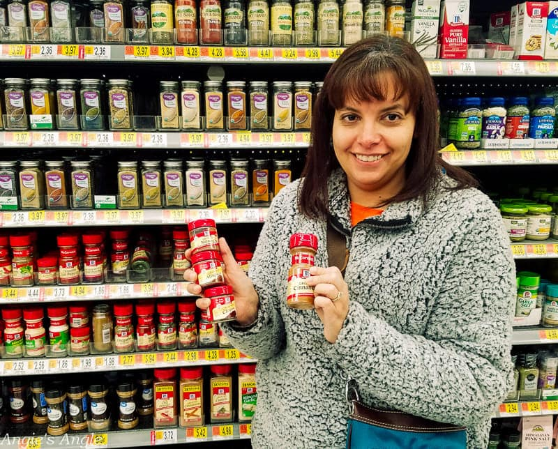 Two Simple Recipes - Me holding the McCormick® spices to buy in Walmart