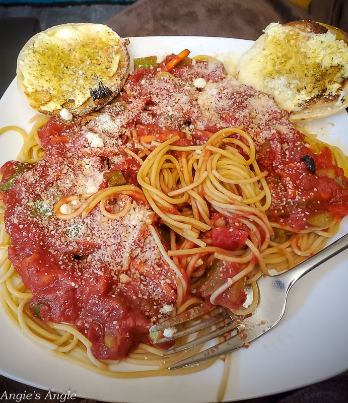 2020 Catch the Moment 366 Week 11 - Day 74 - Spaghetti Mickey Dinner